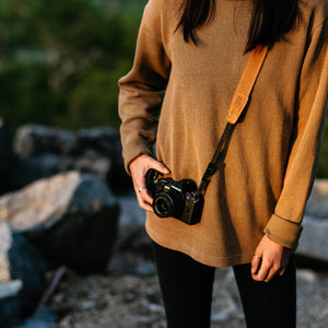 Quick Release Desert Tan Leather Camera Strap for Adventure Photography