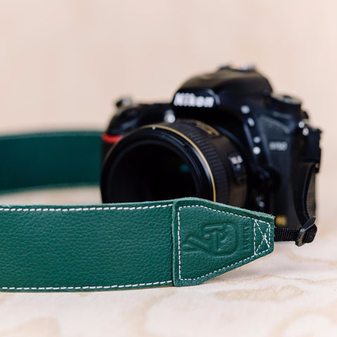 The best gift for photographers - Standard 53 - Classic - Forrest Green - Lucky Camera Straps - genuine leather camera strap personalised handmade in Australia  - 3
