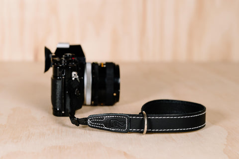 Simple 20 Wrist - Black with White Stitching