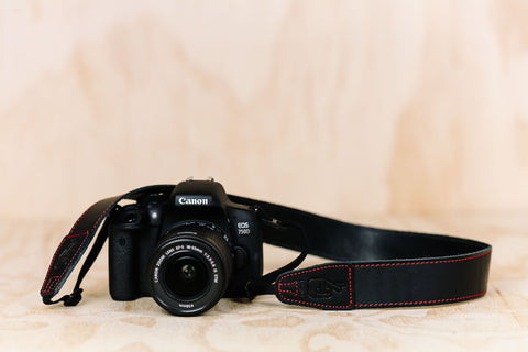 The best gift for photographers - Simple 40 - Black with Red Stitching - Lucky Camera Straps - genuine leather camera strap personalised handmade in Australia  - 1