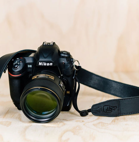 The best gift for photographers - Simple 40 - Black with Stitching - Lucky Camera Straps - genuine leather camera strap personalised handmade in Australia  - 1
