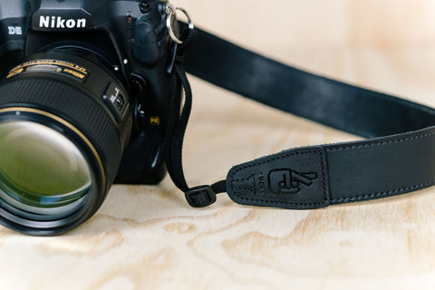The best gift for photographers - Simple 40 - Black with Stitching - Lucky Camera Straps - genuine leather camera strap personalised handmade in Australia  - 2