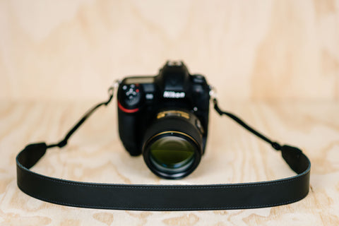 The best gift for photographers - Simple 40 - Black with Stitching - Lucky Camera Straps - genuine leather camera strap personalised handmade in Australia  - 5