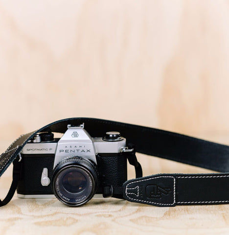 The best gift for photographers - Simple 40 - Black with White Stitching - Lucky Camera Straps - genuine leather camera strap personalised handmade in Australia  - 1