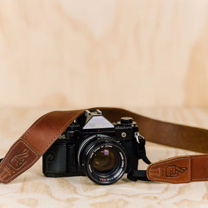 The best gift for photographers - Simple 40 - Natural Brown with Brown Stitch - Lucky Camera Straps - genuine leather camera strap personalised handmade in Australia  - 1