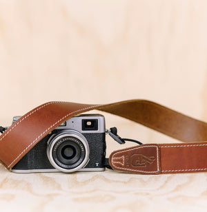 The best gift for photographers - Simple 40 - Natural Brown with White Stitching - Lucky Camera Straps - genuine leather camera strap personalised handmade in Australia  - 1