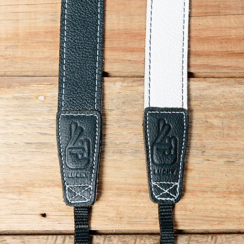 The best gift for photographers - Slim 30 - Contrast - Black/White - Lucky Camera Straps - genuine leather camera strap personalised handmade in Australia  - 2