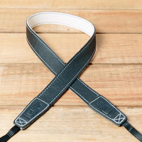 The best gift for photographers - Slim 30 - Contrast - Black/White - Lucky Camera Straps - genuine leather camera strap personalised handmade in Australia  - 3