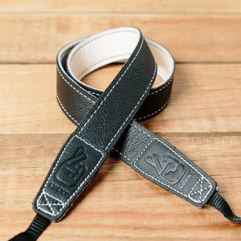 The best gift for photographers - Slim 30 - Contrast - Black/White - Lucky Camera Straps - genuine leather camera strap personalised handmade in Australia  - 1