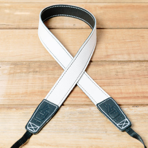 The best gift for photographers - Slim 30 - Contrast - Black/White - Lucky Camera Straps - genuine leather camera strap personalised handmade in Australia  - 5