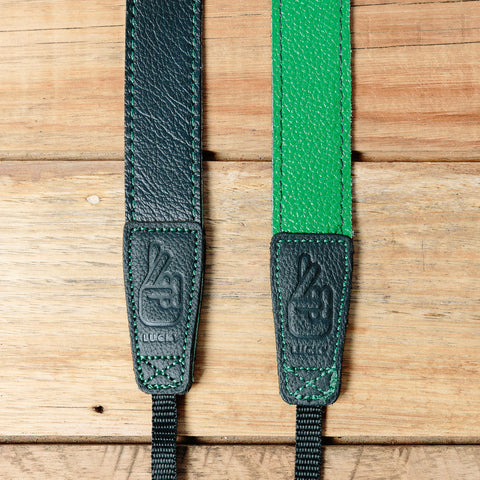 The best gift for photographers - Slim 30 - Contrast - Black/Green - Lucky Camera Straps - genuine leather camera strap personalised handmade in Australia  - 2