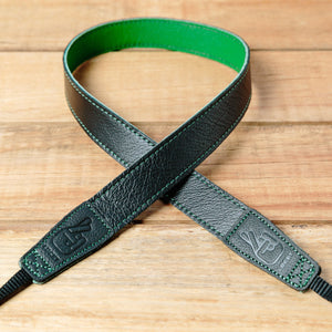 The best gift for photographers - Slim 30 - Contrast - Black/Green - Lucky Camera Straps - genuine leather camera strap personalised handmade in Australia  - 1