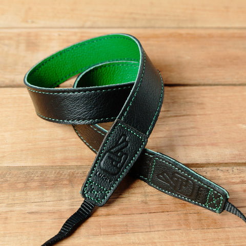 The best gift for photographers - Slim 30 - Contrast - Black/Green - Lucky Camera Straps - genuine leather camera strap personalised handmade in Australia  - 3