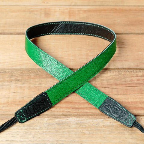 The best gift for photographers - Slim 30 - Contrast - Black/Green - Lucky Camera Straps - genuine leather camera strap personalised handmade in Australia  - 4