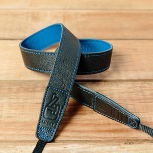 The best gift for photographers - Slim 30 - Contrast - Black/Blue - Lucky Camera Straps - genuine leather camera strap personalised handmade in Australia  - 1