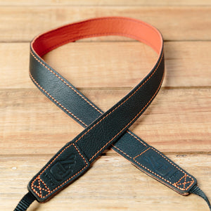 The best gift for photographers - Slim 30 - Contrast - Black/Orange - Lucky Camera Straps - genuine leather camera strap personalised handmade in Australia  - 1