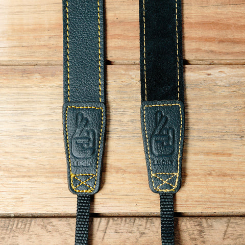 The best gift for photographers - Slim 30 - Grip - Black/Yellow - Lucky Camera Straps - genuine leather camera strap personalised handmade in Australia  - 2