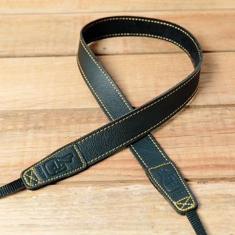 The best gift for photographers - Slim 30 - Grip - Black/Yellow - Lucky Camera Straps - genuine leather camera strap personalised handmade in Australia  - 3