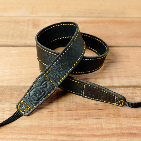 The best gift for photographers - Slim 30 - Grip - Black/Yellow - Lucky Camera Straps - genuine leather camera strap personalised handmade in Australia  - 1