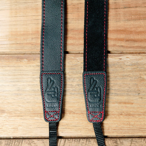 The best gift for photographers - Slim 30 - Grip - Black/Red - Lucky Camera Straps - genuine leather camera strap personalised handmade in Australia  - 3