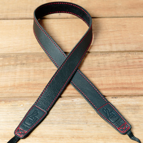 The best gift for photographers - Slim 30 - Grip - Black/Red - Lucky Camera Straps - genuine leather camera strap personalised handmade in Australia  - 4