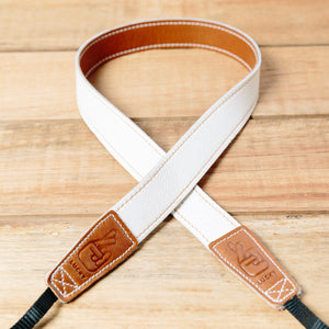 The best gift for photographers - Slim 30 - Retro - Caramel/White - Lucky Camera Straps - genuine leather camera strap personalised handmade in Australia  - 1