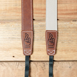 The best gift for photographers - Slim 30 - Classic - Brown/Bone - Lucky Camera Straps - genuine leather camera strap personalised handmade in Australia  - 1