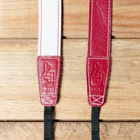 The best gift for photographers - Slim 30 - Retro - Red/White - Lucky Camera Straps - genuine leather camera strap personalised handmade in Australia  - 3