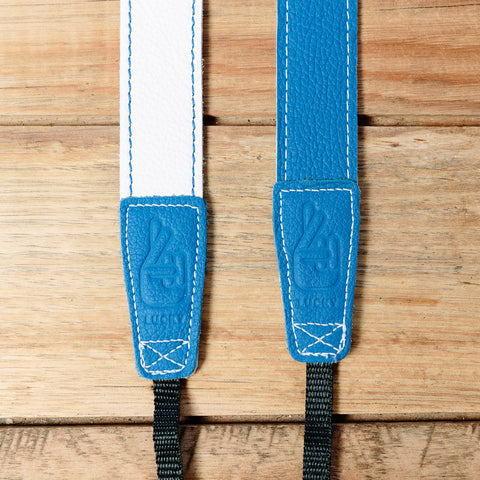 The best gift for photographers - Slim 30 - Retro - Blue/White - Lucky Camera Straps - genuine leather camera strap personalised handmade in Australia  - 2