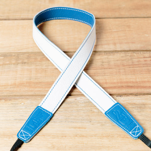 The best gift for photographers - Slim 30 - Retro - Blue/White - Lucky Camera Straps - genuine leather camera strap personalised handmade in Australia  - 3