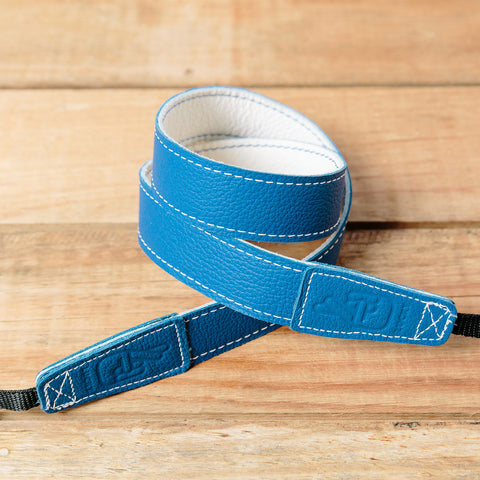 The best gift for photographers - Slim 30 - Retro - Blue/White - Lucky Camera Straps - genuine leather camera strap personalised handmade in Australia  - 1