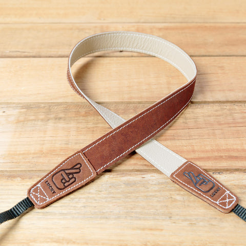 The best gift for photographers - Slim 30 - Classic - Brown/Bone - Lucky Camera Straps - genuine leather camera strap personalised handmade in Australia  - 4