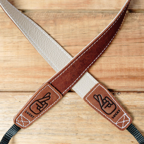 The best gift for photographers - Slim 30 - Classic - Brown/Bone - Lucky Camera Straps - genuine leather camera strap personalised handmade in Australia  - 5