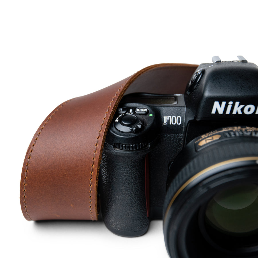 Classic Brown Leather Camera Strap which can be personalised for a gift