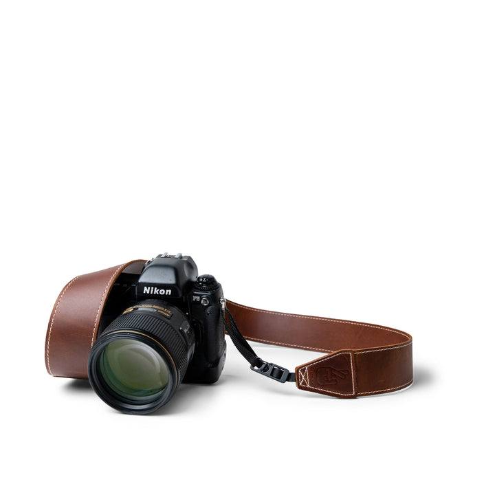 Classic Brown Leather Camera Strap with Quick Release Clips