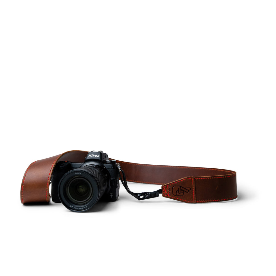 Custom Leather Camera Sling with Red Stitching and Quick Release System