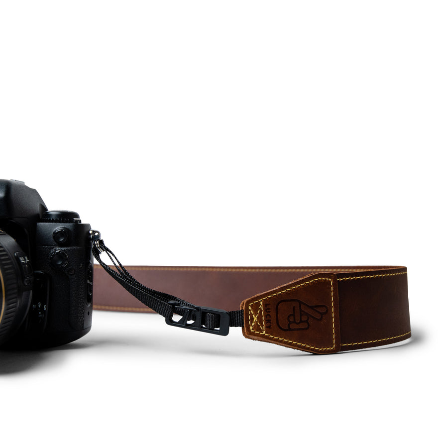 Anti-Theft Quick Release Camera Strap in Brown Leather