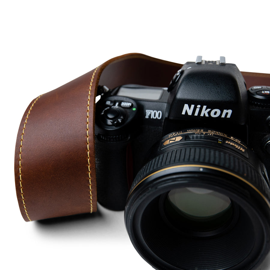 Classic Brown Leather Camera Strap with Gold Stitching