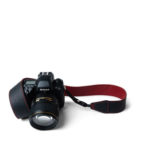 Wine Red Leather Camera Strap with Quick Release System by Lucky Straps Australia