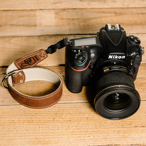 The best gift for photographers - Wrist Strap - Brown/Bone - Lucky Camera Straps - genuine leather camera strap personalised handmade in Australia  - 1