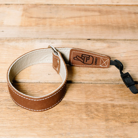 The best gift for photographers - Wrist Strap - Brown/Bone - Lucky Camera Straps - genuine leather camera strap personalised handmade in Australia  - 3
