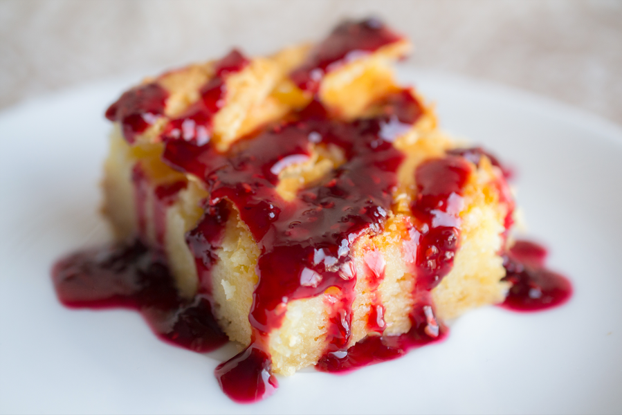 St. Louis Butter Cake with Raspberry Merlot Sauce
