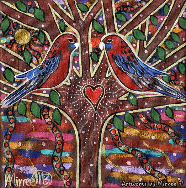Crimson rosella growing dreaming contemporary aboriginal art original crimson rosella growing dreaming contemporary aboriginal art original painting by mirree solutioingenieria Choice Image
