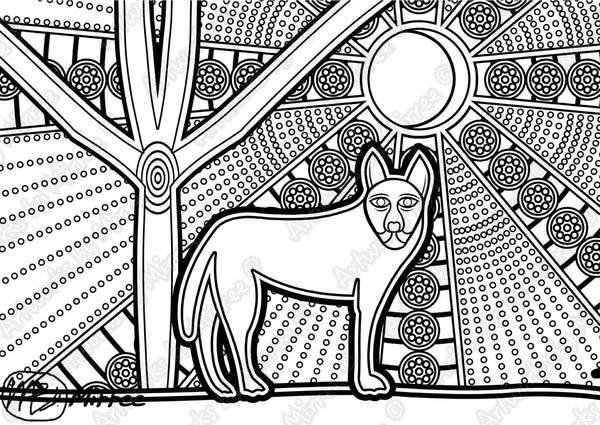 Dingo Colouring Single PDF Page COLOURING PAGE By Mirree Contemporary Dreamtime Series