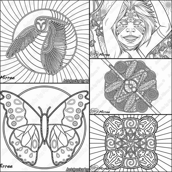 Girls Colouring Pack For Big And Little Kids PDF Pages COLOURING PAGE By Mirree Contemporary Dreamtime Series