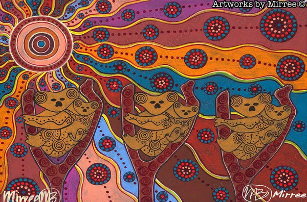 Day Time Koala Universal Spirit Dreaming Aboriginal Art A6 Story PostCard Single by Mirree