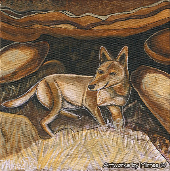 'Australian Desert Dingo by Ancient Cave ~ Resting Cave Dingo' Original Painting by Mirree Contemporary Dreamtime Animal Dreaming