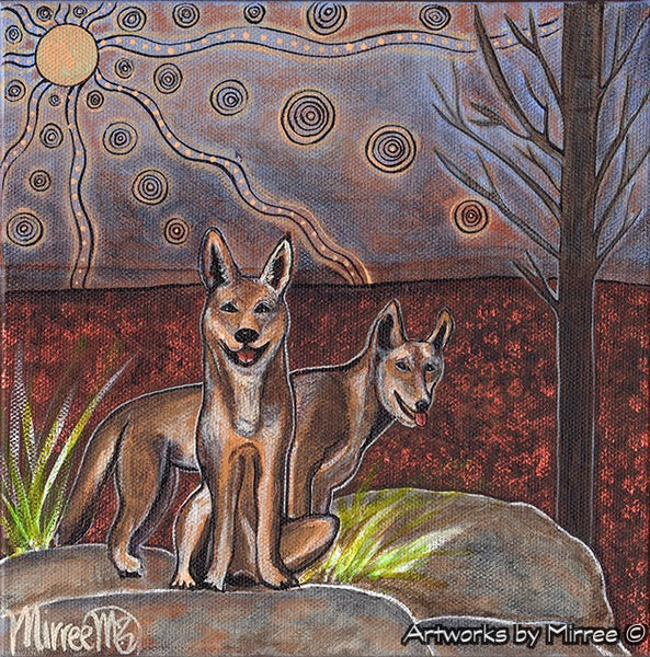 'Australian Wild Dingo by Rock ~ Searching Dingo' Original Painting by Mirree Contemporary Dreamtime Animal Dreaming