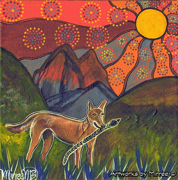 'Australian Desert Dingo by Mountain Range ~ Hunting Dingo' Original Painting by Mirree Contemporary Dreamtime Animal Dreaming
