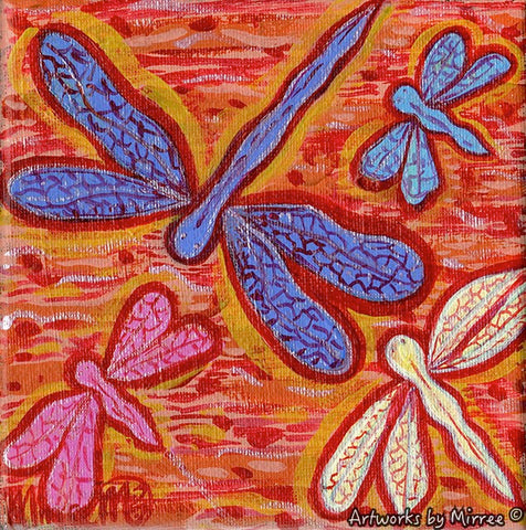 'Dragonfly Swamp' Original Painting by Mirree Contemporary Dreamtime Animal Dreaming
